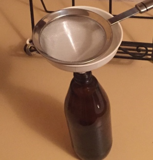 Equipment used to strain the fermented kombucha into a bottle for cooling